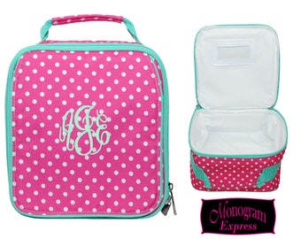 Monogrammed Lunch Bag   Personalized Lunch Bag   Insulated School Lunch Bag   Kid Lunch Bag   Girls Lunch Bag   Hot Pink Polka Dot Lunch Bag