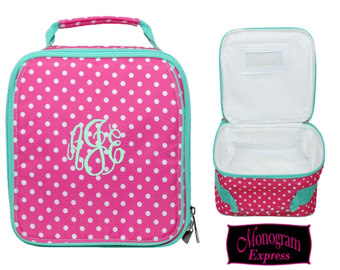 Monogrammed Lunch Bag | Personalized Lunch Bag | Insulated School Lunch Bag | Kid Lunch Bag | Girls Lunch Bag | Hot Pink Polka Dot Lunch Bag