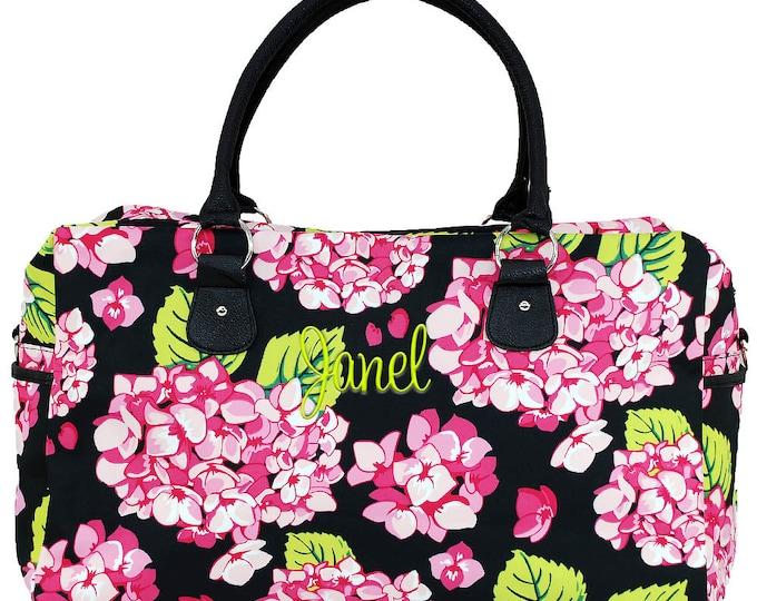 Monogrammed Duffle   Personalized Duffel   Womens Travel Bag   Overnight Bag   Carry-on Luggage   Carolina Hydrangea Weekender Black Trim