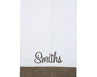Monogrammed White Waffle Guest Towel with Natural Linen Border | Personalized Kitchen Hand Towel | Bath Hand Towel | White Linen Hand Towel