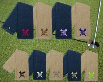 Monogrammed Golf Towel | Unisex Golf Towel | Tee Towel | Personalized Golf Towel With Tee | Golf | Khaki Golf Towel | Navy Golf Towel