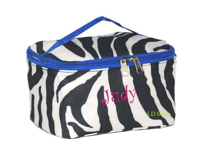 Personalized Cosmetic   Monogram Cosmetic Case   Bridesmaid Makeup   Personalized Gift   Toiletry Bag   Travel Bag   Zebra Royal Blue Trim