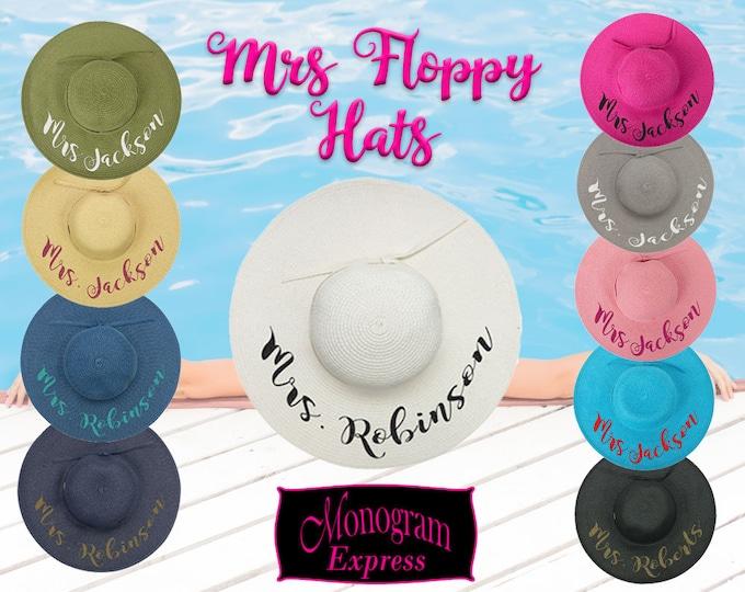 Mrs. Floppy Hats | Honeymoon Floppy Hat | Personalized Floppy Hat | Honeymoon Gifts | Floppy Beach Hats | Beach Hat Personalize | Bride Hat