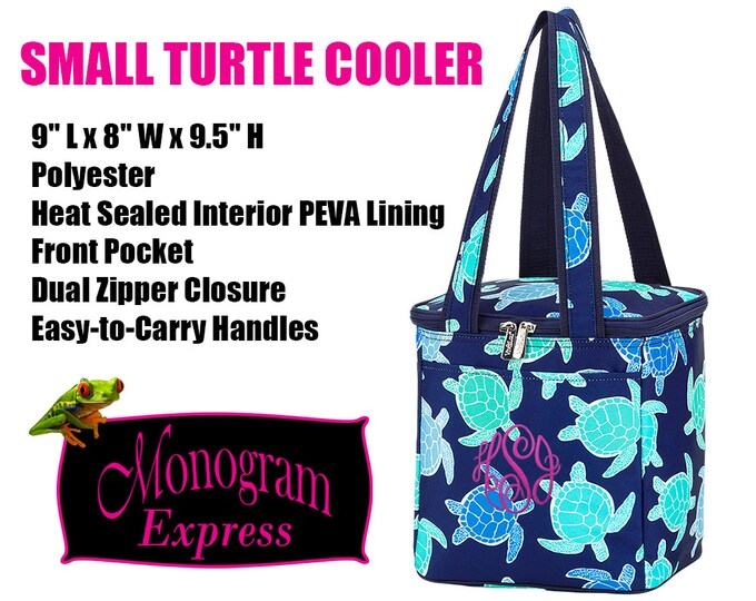 Turtle Cooler Tote | Small Blue Cooler | Personalized Cooler Tote | Insulated Lunchbox | Turtle Cooler | Beach Cooler | Pool Day Cooler