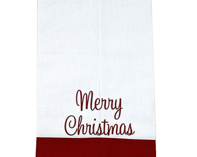 Monogrammed Linen Guest Towel | Personalized Kitchen Hand Towel | Bath Hand Towel | Decorative Hand Towel | White Linen Towel with Stripe