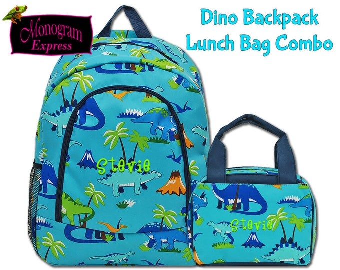 Personalized Toddlers Dinosaur Navy Trim Backpack Lunch Bag Matched Set   Monogrammed Kids Dino Backpack With Insulated Lunch Box Combo Aqua