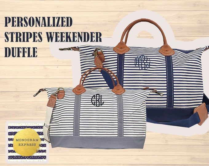 Personalized Weekender Bag | Stripes Canvas Duffle | Custom Overnight Bag | Monogrammed Travel Bag | Navy Striped Duffle | Personalized Bag