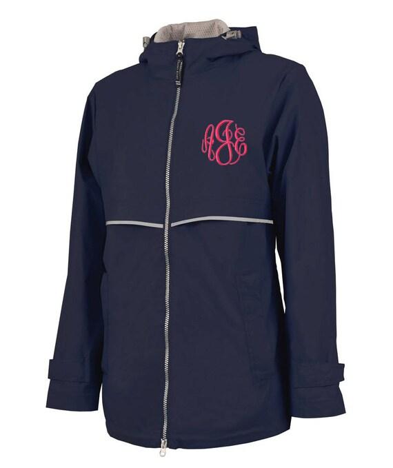 Navy Personalized Womens Reflective Rain Coat Personalized  e295726d8e