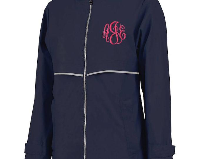 Monogrammed Womens Rain Jacket | Personalized Ladies Rain Coat | Hooded Mesh Lined Full Zip Reflective Trim | Rain Slicker | Navy Grey Trim