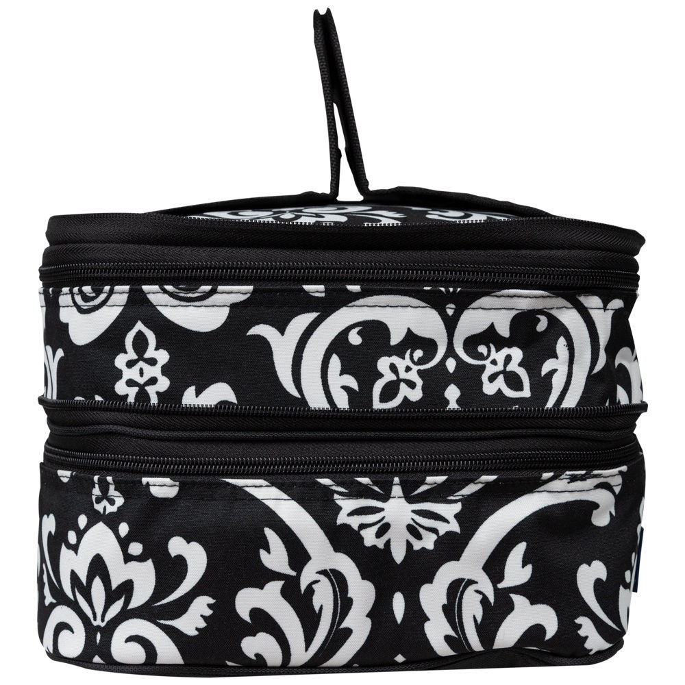 Monogrammed Black Damask Insulated Double Casserole Carrier