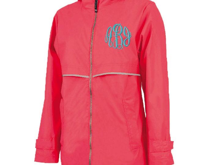 Monogrammed Womens Rain Jacket | Personalized Ladies Rain Coat | Hooded Mesh Lined Full Zip Reflective Trim | Rain Slicker | Coral Grey Trim