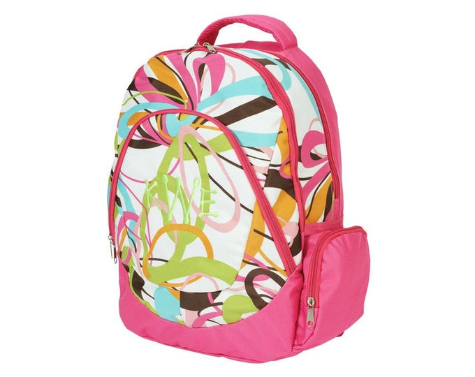 Personalized Backpack School Bag | Girls Backpack | Monogrammed Girls Backpack | Girls Computer Backpack | Kids Groovy Swirl Backpack