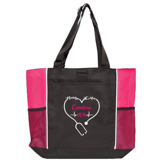 Personalized Nurse Tote Bag Graduation Nurse Gift Monogrammed Nurse Tote Personalized Nurse Gift Striped Tote Vegan Leather Handles