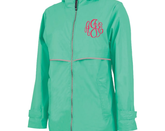 Monogrammed Womens Rain Jacket | Personalized Ladies Rain Coat | Hooded Mesh Lined Full Zip Reflective Trim | Rain Slicker | Mint Grey Trim