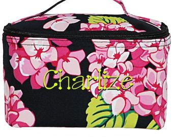 Personalized Cosmetic Bag   Monogrammed Cosmetic Bag   Toiletry Bag   Make Up Bag   Womens Travel Bag   Large Carolina Hydrangea Black Trim