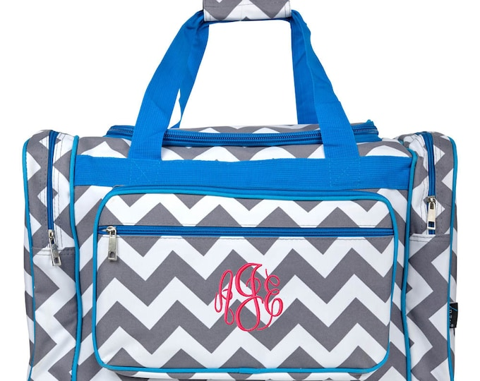 Monogrammed Duffle Bag | Personalized Duffel Bag | Cheer Bag | Dance Bag | Overnight Bag | Girls Duffle Bag | Grey Chevron Turquoise Trim 20