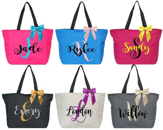 Personalized Bridal Tote Bag Bridesmaid Tote Bag Maid Of Honor Tote Bag Monogrammed Tote Bag Bridal Party Totes Monogram Tote Bag