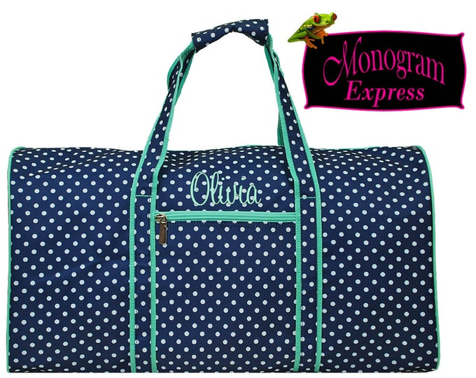 Monogrammed Duffle   Personalized Duffel   Overnighter   Cheer Bag   Women   Travel Bag   Weekend Bag   Navy White Polka Dot Mint Trim 21