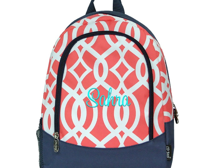 Monogrammed Little Girls Kindergarten Backpack | Personalized Toddlers Small Book Bag | Customized Coral Vine Childrens School Backpack