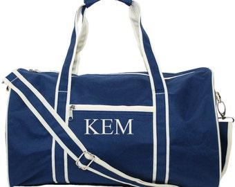 "Monogram Duffel Bag Personalized Duffle Bag | Groomsmen Gift | Groom Gift | Monogram Gym Cheer Dance Bags | Overnight Travel Navy 17"""