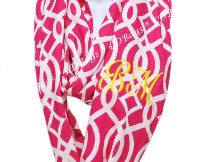 Monogrammed Infinity Scarf | Personalized Infinity Scarf | Lightweight Tube Scarf | Hot Pink | Continuous Loop | Pink Vine Infinity Scarf