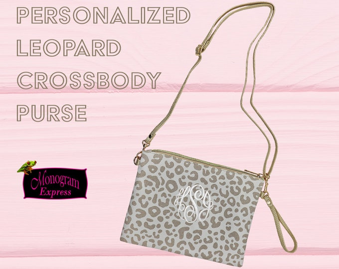 Personalized Leopard Print Bag | Canvas Crossbody Purse | Monogrammed Purse | Night out Clutch | Custom Wristlet | Personalized Small Purse