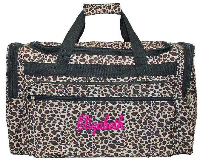"Monogrammed Duffle Bag   Personalized Girl Duffel   Travel Duffle   Bridesmaid Gift   Cheer Team Bag   Dance Duffel   Leopard 22"" Duffle"