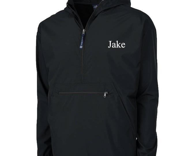 Kids Monogrammed Black Pack N Go | Black Windbreaker | Kids Rain Coat | Children's Rain Jacket | Kids Pullover Youth Quarter Zip Jacket