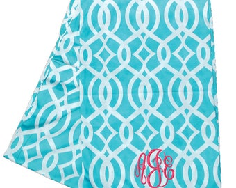 Monogrammed Infinity Scarf   Continuous Loop Aqua Infinity Scarf   Personalized Tube Scarf   Custom Gift   Aqua Coral Vine Infinity Scarf