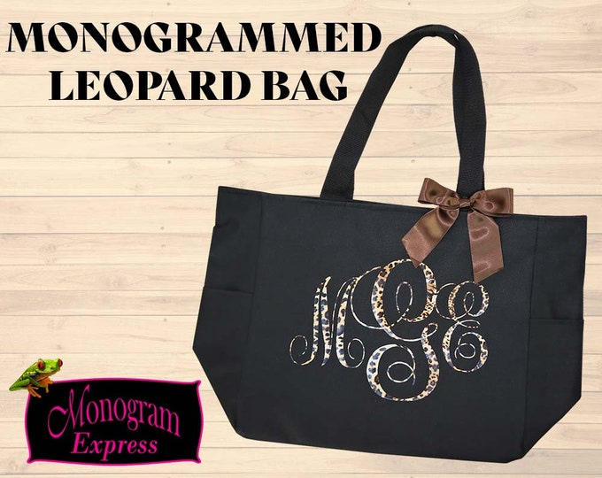 Leopard Monogram Tote | Personalized Over The Shoulder Bag | Black Tote | Tote For Her | Woman's Everyday Bag | Leopard Print Vinyl Bow Bag