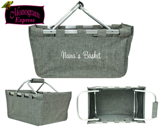 Monogrammed Market Tote | Personalized Picnic Market Tote | Collapsible Market Tote | Farmers Market Basket | Large Gray Market Tote