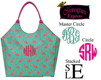 """Personalized Beach Bag    Monogrammed Pool Tote Bag   Weekend Travel Bag   Vacation Carry All   Bridesmaid Gift   Flamingo Beach Bag 5"""" Sew"""