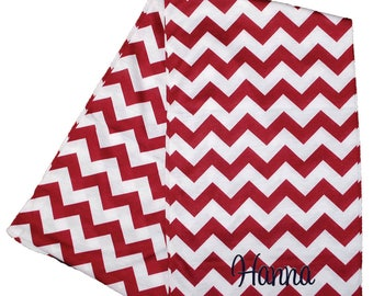 Womens Infinity Scarf   Monogrammed Scarf   Personalized Infinity Scarf   Continuous Loop Scarf   Zig Zag   Burgundy Chevron Infinity Scarf