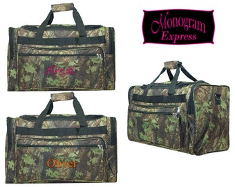 """Monogrammed Camouflage Duffle Bag   Hunting and Overnight Duffel Bag   Men's or Boy's Personalized Bag   Gym Bag   Camo Duffle Bag 22"""""""