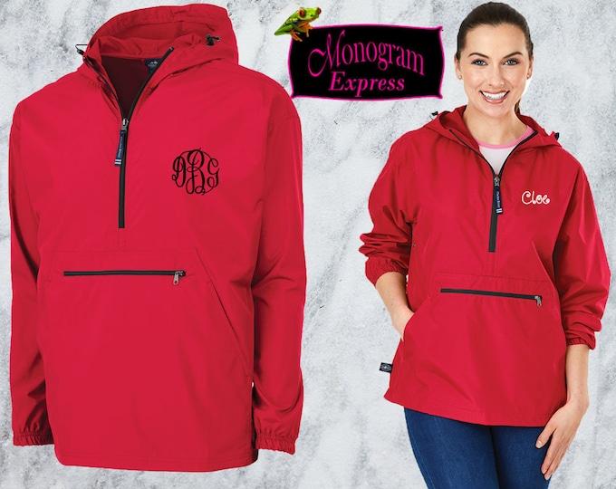 Monogrammed Quarter Zip Pullover Jacket | Personalized Adult Unisex Raincoat | Lightweight Hooded Quarter Zip Windbreaker | Red Pack-N-Go