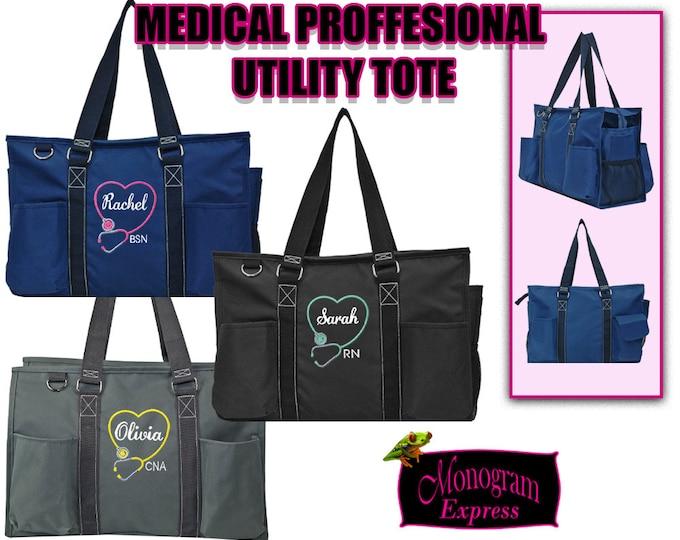 Personalized Medical Bag | Medical Professional Work Bag | Nurse Graduation Gift | Grey Medical Tote | Black Large Utility |  Heart Shape