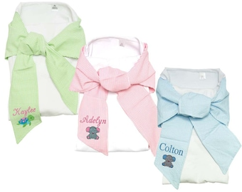 Monogrammed Baby Blanket | Personalized Baby Blanket | Personalized Infant Wrap | Baby Swaddle Wrap | White Swaddle Blanket Seersucker Trim