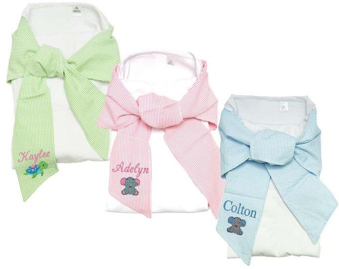 Monogrammed Baby Blanket   Personalized Baby Blanket   Personalized Infant Wrap   Baby Swaddle Wrap   White Swaddle Blanket Seersucker Trim