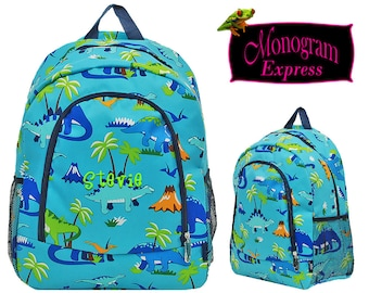 Personalized Dinosaur Navy Trim Backpack   Monogrammed Toddlers Back To School Backpack   Dinosaur Children's Kindergarten Book Bag Aqua