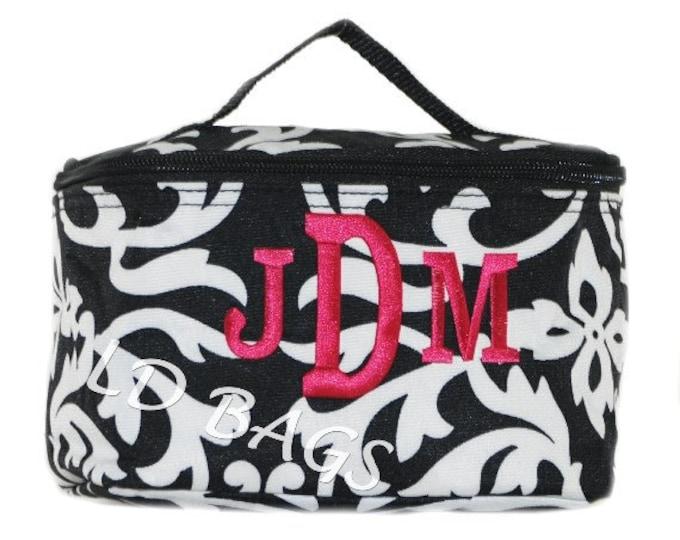 Personalized Cosmetic Bag   Monogram Cosmetic Case   Bridesmaid Makeup   Personalized Gift   Toiletry Bag   Travel Bag   Damask Black Trim