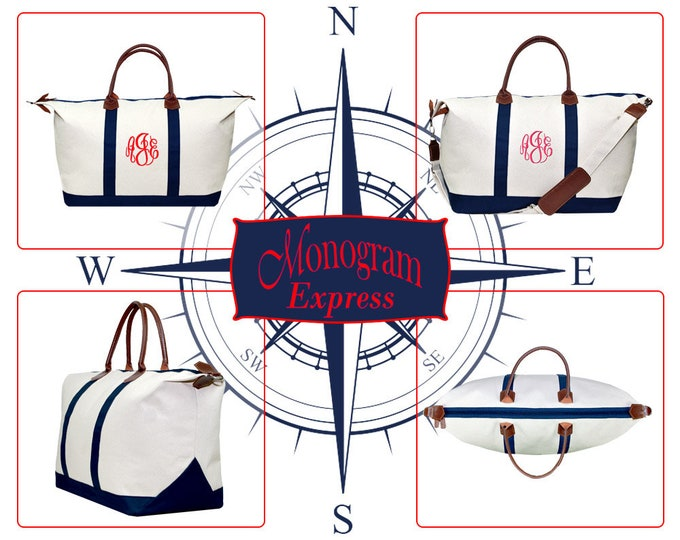 """Monogrammed Navy Blue Natural Durable Oversized Canvas Bag 4"""" Sew"""