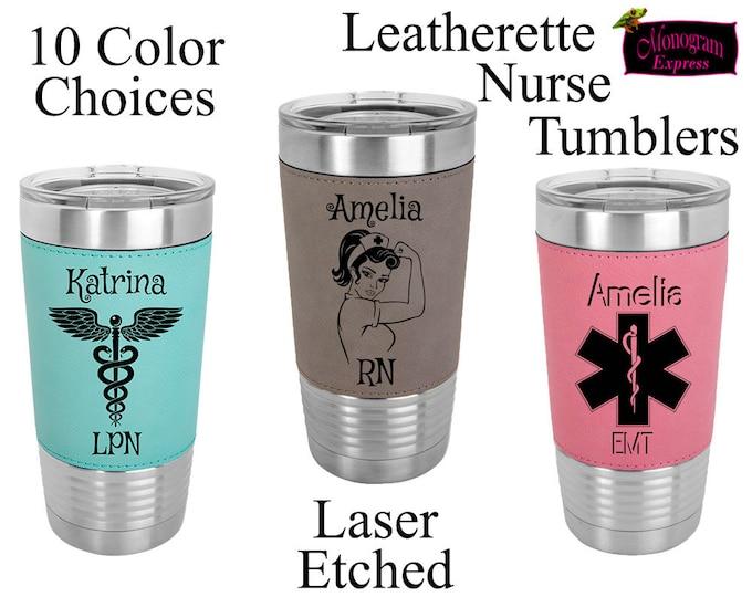 Personalized Nurses Paramedics 20 oz. Insulated Travel Tumbler | Laser Etched Nurses Gift | Customized EMS Faux Leather Wrapped Tumbler