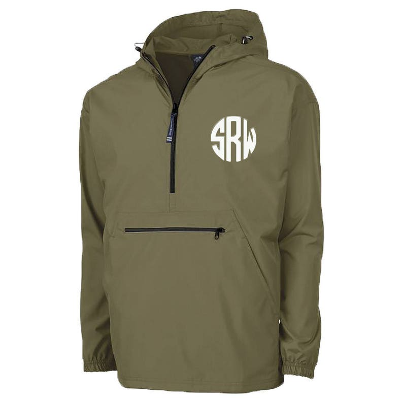 hot sales popular style available Personalized Olive Green Rain Jacket | Green Pack N Go | Pullover Hooded  Rain Coat | Monogram Raincoat | Quarter Zip Olive Green Pack N Go