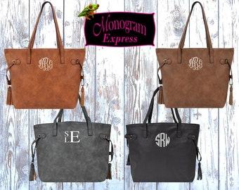 Monogrammed Vegan Leather Tote Bag   Personalized Shoulder Tote Bag   Embroidered Handle Bag   Personalized Gift   Vegan Leather Tassel Bag