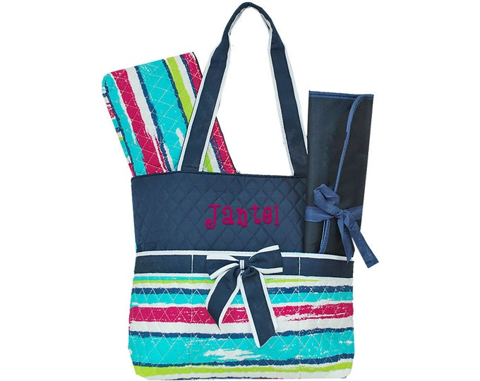 Monogrammed Quilted 3 Piece Diaper Bag | Personalized Diaper Bag | Nappy Bag | Diaper Bag | Rainbow Striped Tote | Beach Striped Diaper Bag