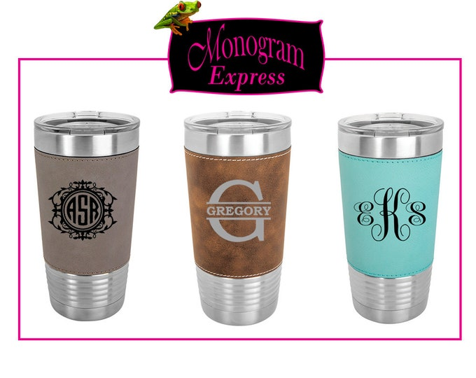 Personalized Tumblers 20 oz. | Insulated Travel Tumbler | Laser Etched Graduation Gift | Customized Faux Leather Wrapped Tumbler | Gifts