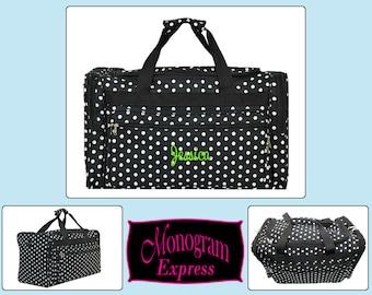 "Monogrammed Polka Dot Duffle Bag   Personalized Duffel Bag   Bridesmaids Gifts   Dance Bag   Travel Bag   Black with White Polka Dot 22"""