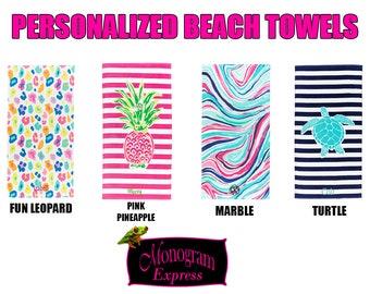 """Personalized Beach Towels   Summer Towels   Monogrammed Pool Towels   Sea Turtle Towel   Marble Towel   Leopard Print Towel   30"""" x 60"""""""