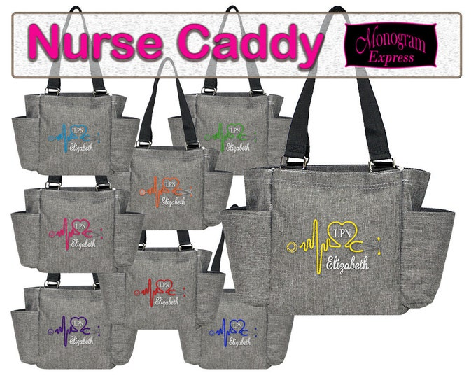 Personalized Nurse Utility Bag | Monogrammed Nurse Utility Bag | Caddy Bag | Stethoscope Bag | Nurse Organizer Tote | Caddy Stone Wash Gray
