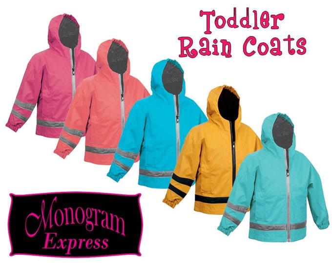 Toddlers Monogrammed Aqua Rain Coat | Personalized Toddlers Aqua Rain Coat | Kids Rain Slicker | Childs Raincoat | Rain Jacket Aqua 2T-3T